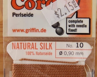 Cornelian Size 10 Griffin Natural Silk Bead Cord - STR 184