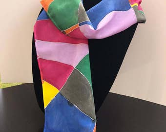 Hand Painted Silk Scarf - Color Block