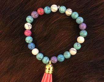 Beaded Tassel Bracelet - Multi Colored Tassel Bracelet - Coral Tassel Bracelet - Leather Tassel - Boho Bracelet - Mother's Day Gift