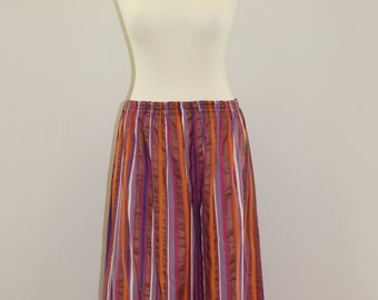 Vertically Striped Skirt (Pink/White/Lylac/Orange/Bronze)