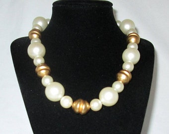 ANNE KLEIN Necklace Signed AK Vintage Gold & White Baubles Tuscan Revival