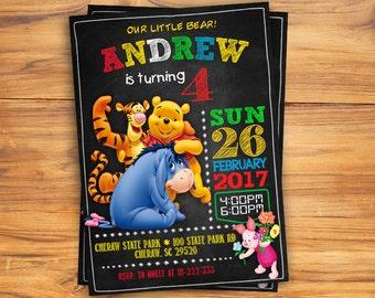 Winnie The Pooh Invitation Winnie The Pooh Birthday Invitation Winnie The Pooh Party Invite Card Winnie The Pooh Printable Invites Supplies