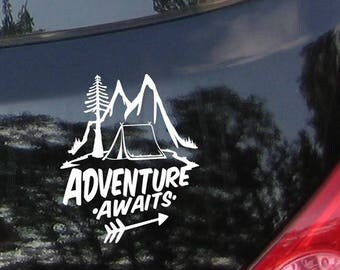 Adventure Awaits - Hobby Biker Decal with Mountains, Vinyl Sticker, Bumper Sticker, Vinyl Decal, Adventure, Car Window Decal, Laptop Sticker