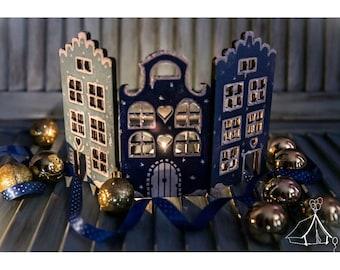 Folden Screen Christmas City , Miniature Room Screen , Cristmas Gift Snow City , Screen Dutch Canal Houses , Holland House  Folding Screen
