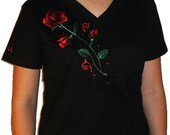 Romantic Red Rose Unique Custom Women's Cute Fun Glitter Cool Embroidery  Bling  V-neck T shirt Cindy's Handmade Shirts Boutique