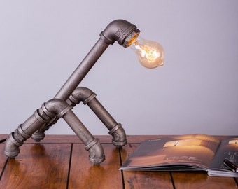 Steampunk vintage grey metal table lamp made from industrial pipes for exclusive look to your home when paired with Edison bulb …