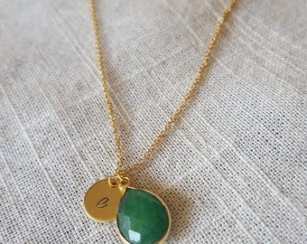 Initial Necklace with Glass Drop Emerald Green