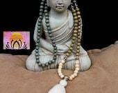Mala Beads-Natural White Wood Beads-Celadon, Sage, Natural Colours-108 Beads-Tassel Necklace-Yoga Jewellery-Handmade-Energised