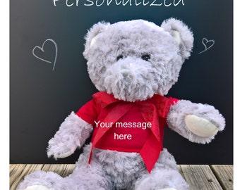 "SALE!! Personalized Teddy Bear ~ Valentine's Bear ~ 18"" ~ Custom Bear ~ Personalized Valentine's Day Bear ~ Valentine's Day ~ Plush Bear"