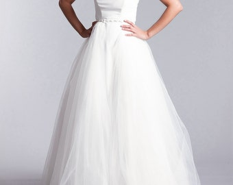 Bridal over skirt, Long tulle skirt, Tulle over skirt, Long bridal  skirt in white or Ivory