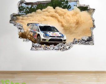Rally Car Wall Sticker 3d Look - Boys Kids Bedroom Extreme Sport Wall Decal Z169