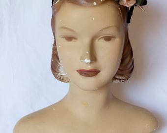 1950s Schiaparelli Hat, Velvet with Silk Flower and Single Feather Detail