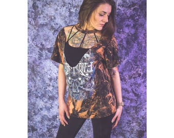 Escape the Fate deep v mock choker bleached distressed shirt - Reworked band tee