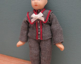 Period Dolls House Doll - Little Boy in Sailor Suit - Ceramic and Soft Bodied