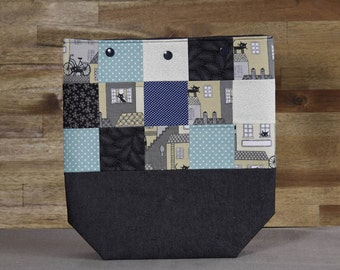 Anthracite-blue-cream project bag with patchwork panels and snap buttons