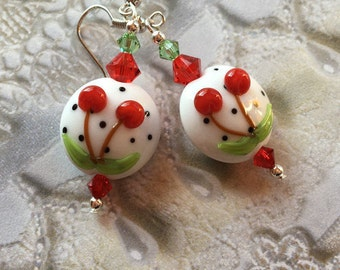 Wild Cherry SRA Lampwork Earrings, SRA Lampwork Jewelry, Mothers Day, Gift For Her, Cherry Earrings