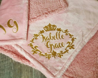 Custom,  Personalized, Baby Girl, Pink or White Fluffy Soft Baby Blanket