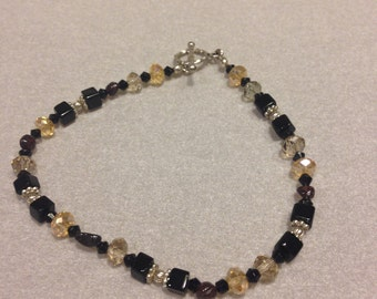 Vintage Champagne Crystal and Black Bead Bracelet