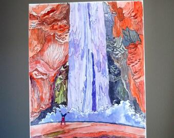 Mooney Falls, ORIGINAL watercolor, waterfall painting, illustration drawing, line drawing, watercolor illustration, pen and ink illustration