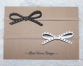 Black and white studded bow headband