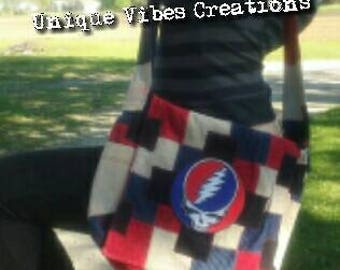 Grateful Dead, Steal Your Face Inspired, Recycled  Corduroy, Patchwork  Crossbody Purse With Matching Classic Rock Music Keychain