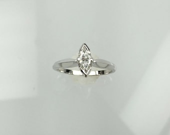 Vintage 1960's Marquise diamond solitaire engagement ring .34ct