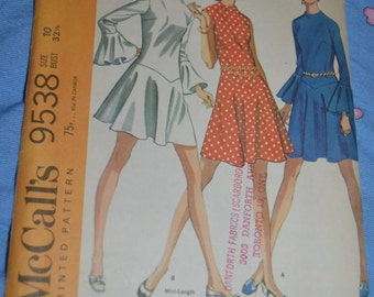 McCalls 9538 Misses Dress in Three Versions Sewing Pattern - UNCUT - Size 10 Bust 32 1/2