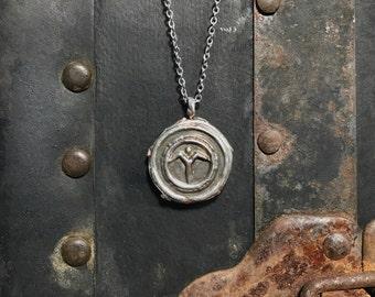 The Sacred Spirit / Rustic Metal Jewelry / Handmade Memorial Coin Pendant
