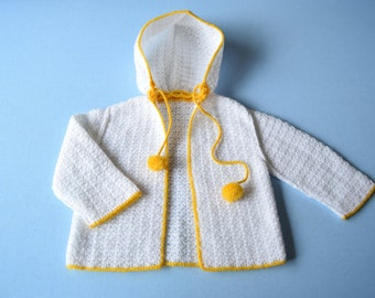 Vintage 70's / baby / vest / hand made knit / white edging and yellow Pompom