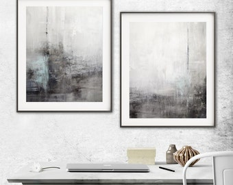 Abstract Print Digital Download Set Of Two Printable Art  Gray Blue Modern Contemporary Urban Painting Interior Design Wall Decor by Whitman