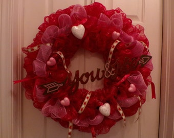 Valentine Wreath, Valentines Day Wreath, You and Me, Wreath, Valentines Wreath Door Decor, Valentine, Sweetheart Front Door Decoration