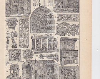 French Gothic Art & Architecture Low relief sculptures 1922 french vintage original print to frame or scrapbooking A4