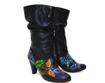 Hothouse Butterfly Hand Painted Upcycled Women's Mid Calf Tall Leather Boots