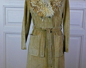 Finnish Vintage Tan Suede Coat w Fox Fur Collar, European Full-Length Butterscotch Beige Suede Jacket Fox Collar: Size 10 US, Size 14 UK