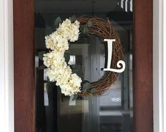 White Hydrangea Wreath with Greenery, Front Door Wreath, Initial Decor, Rustic Wreath, Spring Wreath, Door Decor, Wreath with Initial