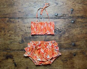 Orange sorbet sunsuit, pure cotton