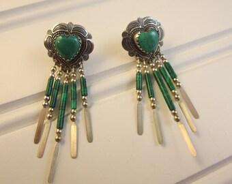 Southwestern Dangle Earrings Heart Shaped 925 Sterling Silver Malachite