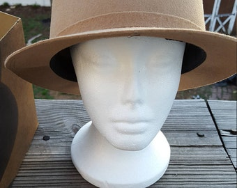 Vintage Women's Tan Derby 100% Wool Hat with Hat Box