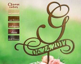 Letter g cake topper, Initials Cake Topper, Wedding Cake Topper Monogram, Cake Topper Wood, cake topper letter g, Cake topper date, CT#066