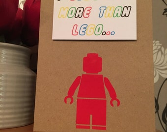 I love you more than lego card, ideal for anniversary or valentines