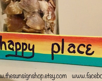"""Tropical Sunset Signs """"my happy place"""", happy place signs, home decor, wall art, tropical signs, beach signs, sunset signs, ocean, palm tree"""
