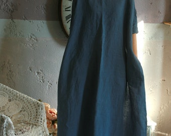 Washed linen maxi dress, bat sleeve,oversized long dress with pockets