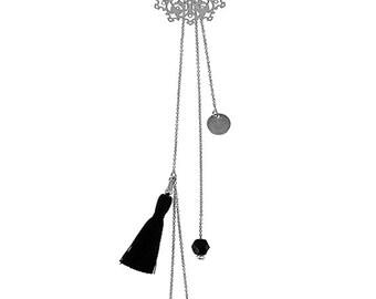 Watermark rosette Black Pearl Necklace
