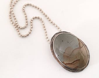 Picture Jasper Pendant Necklace - Landscape Jasper Jewelry - Gift for Her - Southwestern Jewelry - Semi Precious Stone - Jasper Jewelry