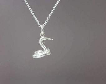 925 Sterling silver balloon swan necklace - 3D Swan pendant - Sterling Silver balloon swan pendant