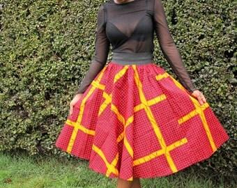 Lava African Print Midi Skirt