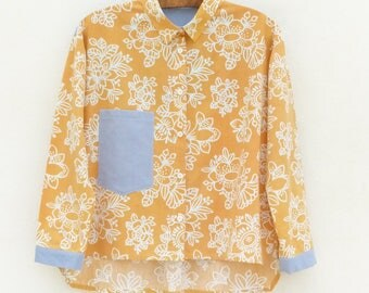 Shirt Crop top T40 - OOAK - recycled fabrics
