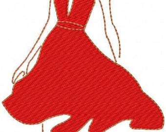 pattern red dress girl machine embroidery woman in red embroidery