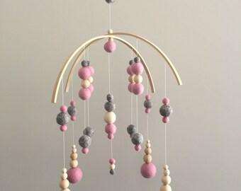 Pink Felt Ball Nursery Mobile ***Ready to ship***