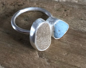 SOLD- Sterling Silver Leland Blue, Beach stone Ring